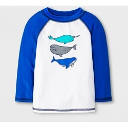 Baby Boys' Narwhal & Whale Rash Guard - Cat & Jack Blue/White 6-9M, Boy's found on Bargain Bro India from target for $2.80