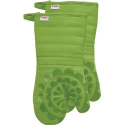 """Green Medallion Silicone Oven 2 Pack Mitt (13""""x13"""") T-Fal"""