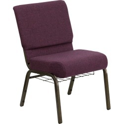 Riverstone Furniture Collection Fabric Church Chair Plum, Purple