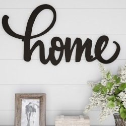 """Home"" Decorative Wall Metal Cutout Sign Dark Chocolate - Lavish Home, Brown"