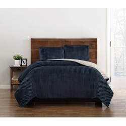 Truly Soft Everyday Full/Queen Velvet Pick Stitch Quilt Set Navy, Blue found on Bargain Bro India from target for $79.99