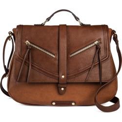 A+ Women's Faux Leather School Crossbody Handbag with Snap Closure - Cognac (Red)