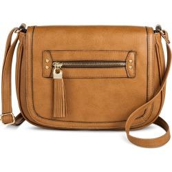 A+ Women's Faux Leather Saddle Crossbody Handbag - Cognac (Red)