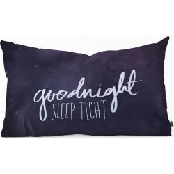 Leah Flores Goodnight Lumbar Throw Pillow Black - Deny Designs