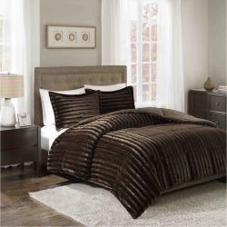 Chocolate York Brushed Faux Fur Comforter Mini Set (Full/Queen), Brown