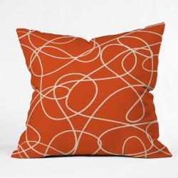 Zoe Wodarz Scribble Up Square Throw Pillow Orange - Deny Designs