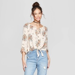 398bf6d4b493a3 Women s Floral Print Long Sleeve Off the Shoulder Top - Xhilaration White  M