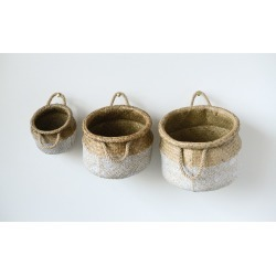 Decorative Basket Set of 3 - Beige/White