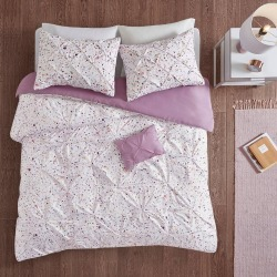 Nicole Full/Queen 4pc Printed and Pintucked Duvet Cover Set Plum, Purple