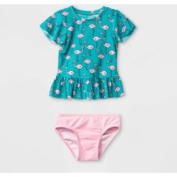 petiteBaby Girls' Short Sleeve Flamingo Rash Guard Set - Cat & Jack Aqua 18M, Girl's, Blue/Pink found on Bargain Bro Philippines from target for $11.19