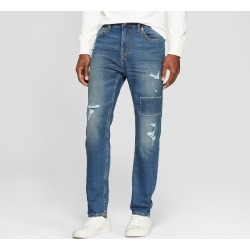 Men's Taper Fit Medium Patched with Destruction Jeans - Goodfellow & Co Vintage Indigo 28x30, Blue found on Bargain Bro India from target for $29.99
