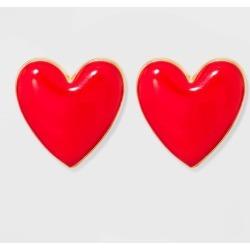 SUGARFIX by BaubleBar Enamel Heart Stud Earrings - Red, Women's