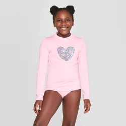Girls' Solid Long Sleeve Flip Sequins Heart Rash Guard - Cat & Jack Pink M, Girl's, Size: Medium, MultiColored found on Bargain Bro India from target for $14.99
