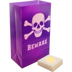 6ct LED Luminaria Kit With Timer Candle Purple - LumaBase