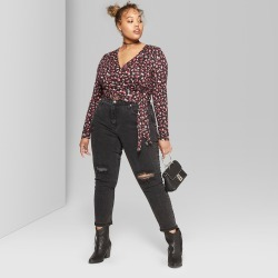 Women's Plus Size Floral Print Long Sleeve Faux Wrap V-Neck Blouses - Wild Fable Black 1X found on Bargain Bro India from target for $18.00