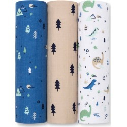 Muslin Swaddle Blanket Dinos Cool 3pk - Cloud Island Green/Blue found on Bargain Bro India from target for $19.99