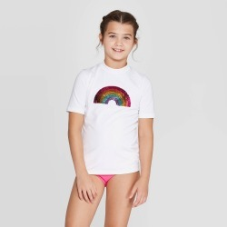 petiteGirls' Rainbow Flip Sequin Short Sleeve Rash Guard - art class White XS, Girl's found on Bargain Bro India from target for $14.99