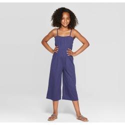 6187bc5ac5380a Girls' Cross Front Knit Jumpsuit - art class Navy (Bluetarget