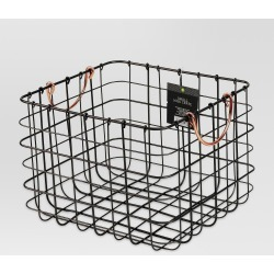 Small Milk Crate With Copper Handles - Threshold , Silver
