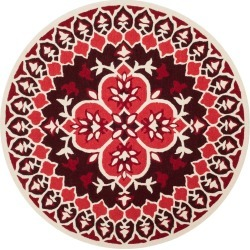 Red/Ivory Medallion Tufted Round Area Rug 5' - Safavieh, Size: 5' ROUND, Red nIvory