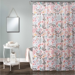 Pixie Fox Shower Curtain Gray & Pink - Lush Decor found on Bargain Bro India from target for $13.99