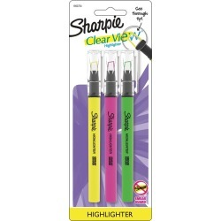Sharpie Clear View Highlighter with See-Through Tip, Chisel Tip, 3ct - Multicolor Ink