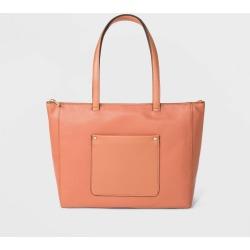 Zip Top Tote Handbag - A New Day Calm Orange, Women's, Size: Small