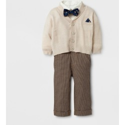 Baby Grand Signature Baby Boys' Cardigan and Houndstooth Pants Suit Set - Tan 3-6M, Size: 3-6 M, Beige