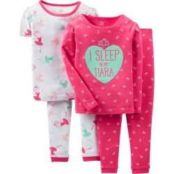Baby Girls' 4pc Tiara Snug Fit Cotton Pajama Set - Just One You Made by Carter's Pink 18M, Infant Girl's
