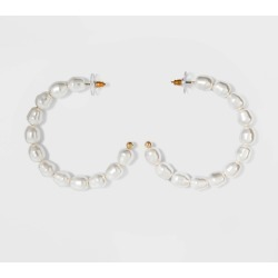SUGARFIX by BaubleBar Pearl Hoop Earrings - Pearl, Women's, White