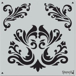 Stencil1 Flourishes Repeating - Wall Stencil 11