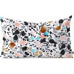 Marta Barragan Camarasa The Hands Of Terrazzo Oblong Lumbar Throw Pillow Black - Deny Designs