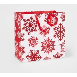 Snowflakes Gift Bag Red - Wondershop