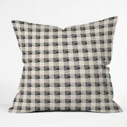 Holli Zollinger Plaid Square Throw Pillow Black - Deny Designs