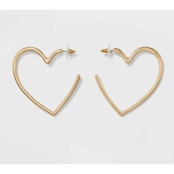 SUGARFIX by BaubleBar Heart Hoop Earrings - Gold, Women's