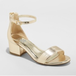 Girls' Flowers by Nina Tressie Heeled Ankle Strap Sandals Gold 4