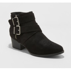 Women's Belle-Ann Microsuede Buckle Heeled Fashion Bootie - Universal Thread Black 5 found on Bargain Bro India from target for $24.69