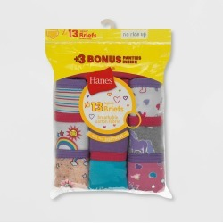 Hanes Girls' Briefs 10+3 Bonus Pack - Colors Vary 6, Girl's, MultiColored found on Bargain Bro Philippines from target for $24.49