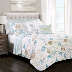 Blue & Taupe Harbor Life Quilt Set (King) 7pc - Lush Decor found on Bargain Bro India from target for $90.99