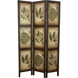 Botanical Print Double Sided Room Divider - Oriental Furniture