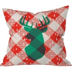 """20""""x20"""" Plaid Zoe Wodarz Oh Deer Me Throw Pillow Red - Deny Designs, Red Multicolored"""