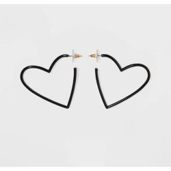 SUGARFIX by BaubleBar Coated Heart Hoop Earrings - Black, Women's