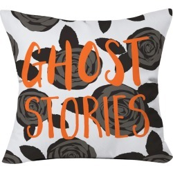 "20""x20"" Zoe Wodarz Ghost Stories Throw Pillow Black - Deny Designs, Orange Black"
