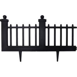 15.5 Deluxe Wrought Iron Fence Border - 10 Pc - Black - Emsco