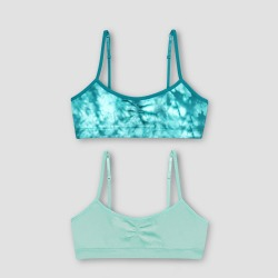 Hanes Girls' 2pk Seamless Molded Wireless Bra - Green M, Girl's, Size: Medium found on Bargain Bro Philippines from target for $11.99