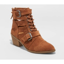 Women's Brandi Microsuede Buckled Lace-Up Bootie - Universal Thread Cognac 6, Women's, Red found on Bargain Bro Philippines from target for $37.99