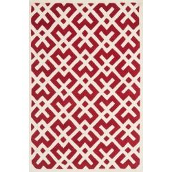 Red/Ivory Geometric Tufted Area Rug 6'X9' - Safavieh