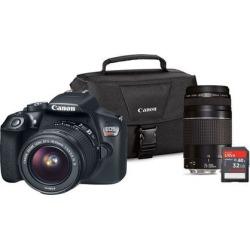 Canon 1159C033 EOS Rebel T6 DSLR Camera 18MP EF-S 18-55mm IS, EF75-300 III Lens