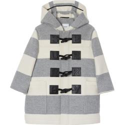 Kids Logo Detail Striped Wool Cashmere Blend Duffle Coat