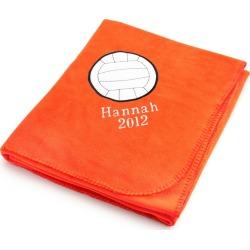 Volleyball Design on Bright Orange Fleece Blanket